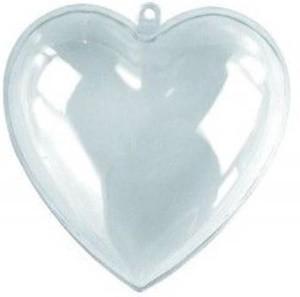 Átlátszó műanyag / akril szív 10 cm-es 90-1096