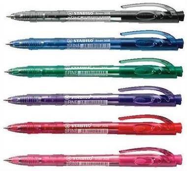 Golyóstoll 0,7mm Stabilo liner 308 6 színben F01537100/16643-