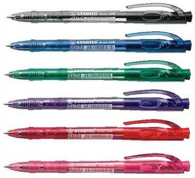 Golyóstoll 0,7mm Stabilo liner 308 5 színben F01537100/16643-