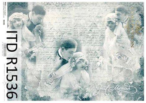 R1536 ITD Rizspapír A/4, 30gr -  Vintage esküvői párok kékesszürke