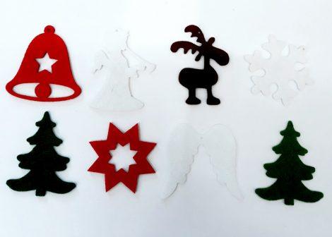 Filcfigurák, karácsonyi vegyes mintákkal kb. 5cm 29224