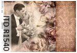 R1540 ITD Rizspapír A/4, 30gr -  Vintage esküvői pár, szépia