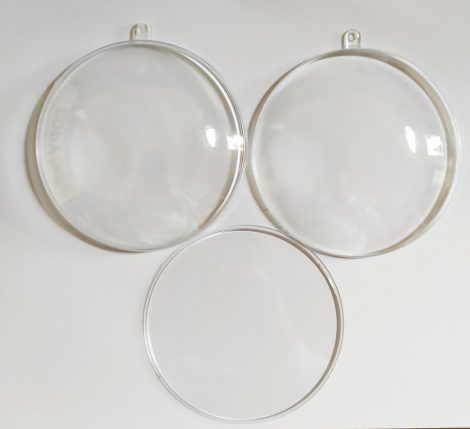 Átlátszó műanyag / akril medalion 10 cm-es 3 részes 34433