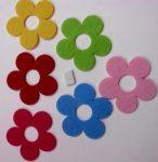 Filcfigura ötszirmú virágok 6db/cs, kb.6cm 23214