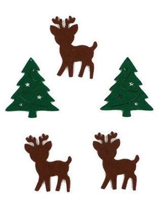 Filcfigura, rénszarvas és fenyő 5-6cm, 5db/cs, 23276