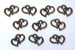 Fém díszítőelem, szívek párban 3,3*2,2cm 10/cs 38203