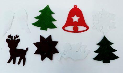 Filcfigurák, karácsonyi vegyes mintákkal kb. 5cm 29225