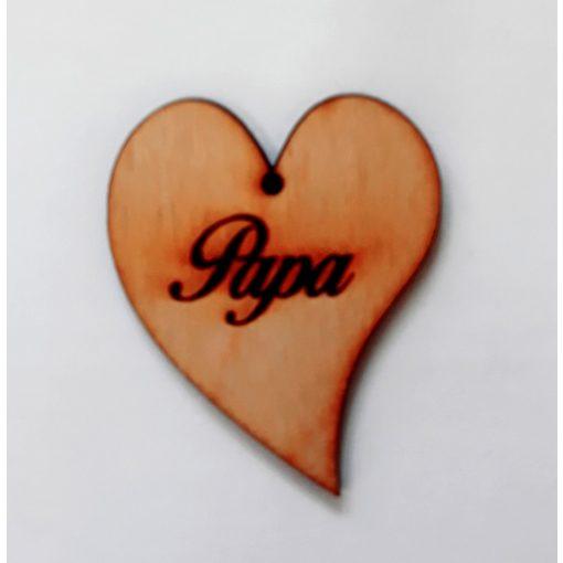 """Szív """"Papa"""" felirattal 5*4,5*0,3cm 3615C"""