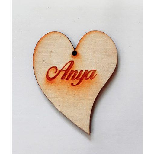 """Szív """"Anya"""" felirattal 4*5*0,3cm 1811C"""
