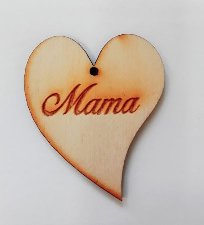 "Szív ""Mama"" felirattal 5*3*0,3cm 1812C"