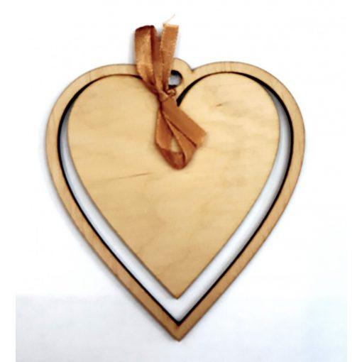 Szív masnis, kerettel 12,5*11,5 cm 1844C