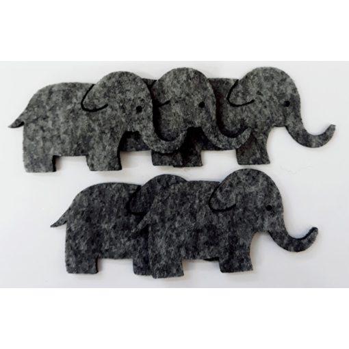 Filcfigura elefántok 5db/cs, kb.6cm 23217