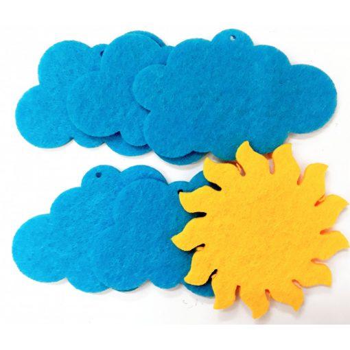 Filcfigura nap+felhők 6db/cs, kb.6cm 23212