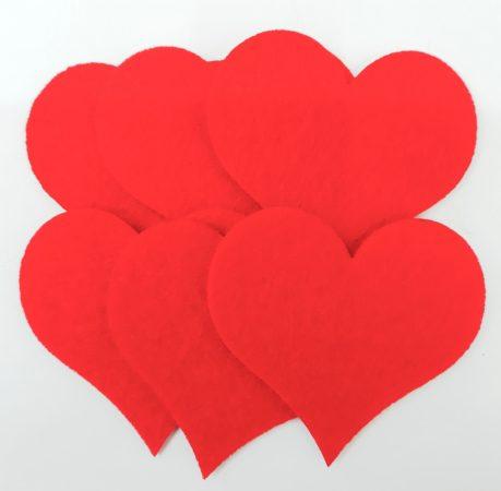 Filcfigura szívek 6db/cs, kb.6cm 23209