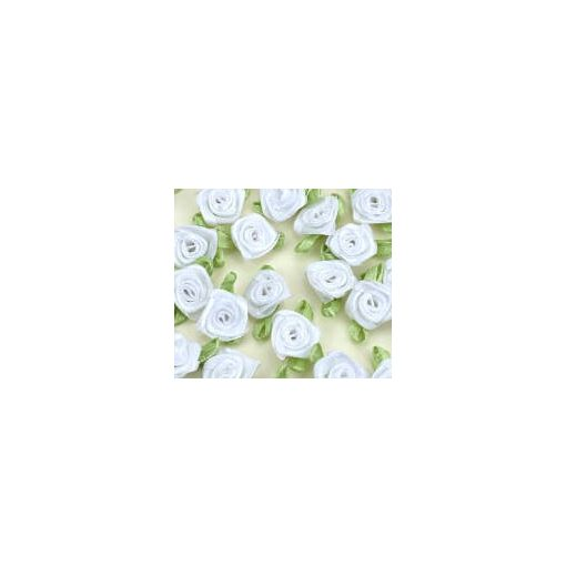 Szatén rózsafejek 2 cm 25db/cs - Fehér 7367