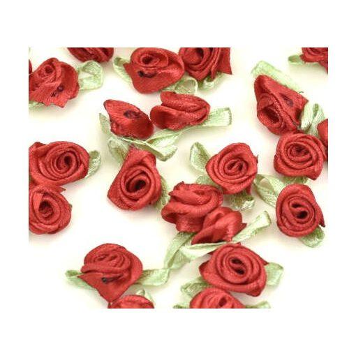 Szatén rózsafejek 2 cm 25db/cs - Piros 7367