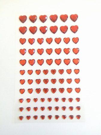 Öntapadós flitter, szívek vegyes méret, 84db 7347C