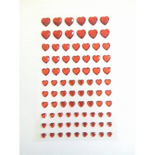 Öntapadós flitter, piros szívek vegyes méretben, 84db 7347C