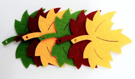 Filcfigura falevelek vegyes színben 6db/cs, kb.6cm 26163